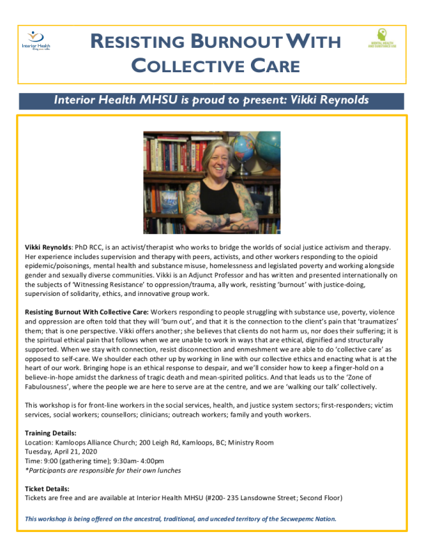 RESISTING BURNOUT WITH COLLECTIVE CARE April 21 Kamloops