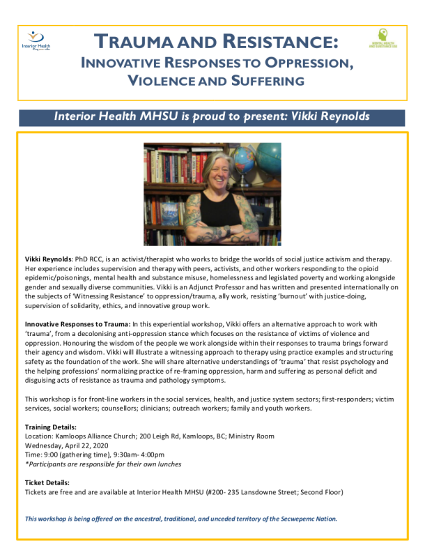 TRAUMA AND RESISTANCE:INNOVATIVE RESPONSES TOOPPRESSION,VIOLENCE AND SUFFERING April 22 Kamloops