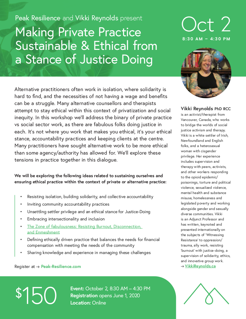 Making Private Practice Sustainable & Ethical from a Stance of Justice Doing